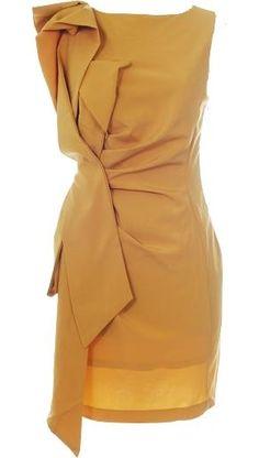 mustard origami dress