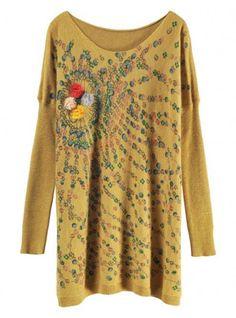 Flowers Rabbit Wool Cashmere Sweater Yellow $35.00