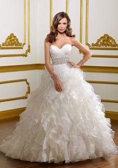Attractive A-Line/Princess Sweetheart Chapel Train Organza Satin Wedding Dresses With Ruffle Beadwork