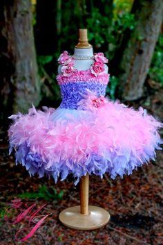 Pretty Pink Ballerina Girls Feather dress