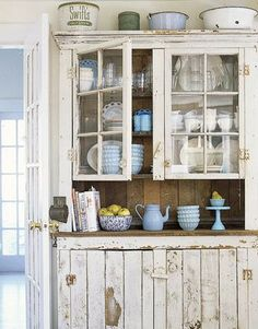 Love the French country/rustic cupboard