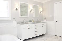 Spa bathroom, Bathroom white vanity, Elte Ginger cabinet pulls and knobs in polished nickel, Restoration Hardware Lugarno sconces