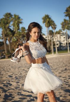 Two-Piece Prom Dress with Glitter Tulle Skirt by Camille La Vie & Group USA modeled by Janel Parrish of Pretty Little Liars