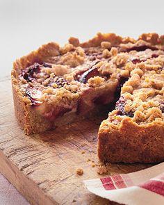 Raspberry plum crumb tart