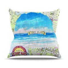 "Rosie Brown ""Tybee Island"" Ocean View Outdoor Throw Pillow   KESS InHouse #pillow #throwpillow #homedecor #beach #tybeeisland #georgia #map #kessinhouse"