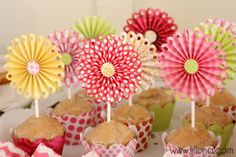 Cupcake Rosette Toppers & Liners using die-cuts! LOVE how they turned out. #party