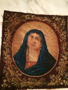 Religious Madonna Antique Tapestry Iconogrphy 19th Needlework | eBay