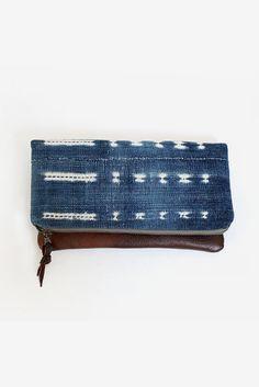 Indigo Tribal Handbag Leather clutch