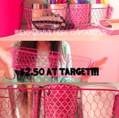 DIY organization idea: you can buy these buckets or replicas of these buckets at Target, Walmart etc. you can store pencils, pens, markers. organ idea, diy locker organization, bucket, locker organization diy, cutecool locker, diy organization, diy bethany mota, school locker ideas diy, organization ideas