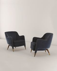 Gio Ponti; Custom Walnut and Brass Armchairs, c1950.