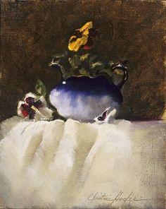 Flow Blue & Pansies by Christine Hooker Oil ~ 12 x 9