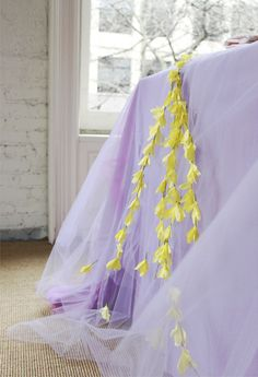 tulle + faux floral tablecloth. just a little spring fantasty.