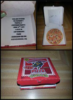 Homemade Teenage Mutant Ninja Turtles invites 2013