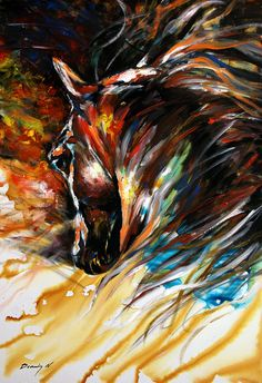 Horse Painting Equine Abtract Original Contemporary Canvas Art BALDY USA on Etsy, $299.00