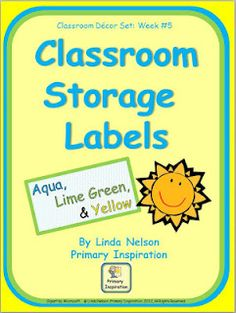 FREE storage labels for classroom supplies - turquoise/lime/yellow