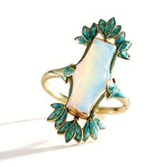 Opal and enamel ring by Georges Fouquet, circa 1900-1910