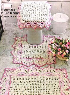 -Tapetes de Crochê para Banheiro | Pink Rose Crochet