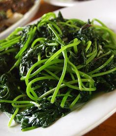 Kong xin cai.  Quite easily one of my favorite Chinese vegetables.  #hollow heart vegetable #water spinach