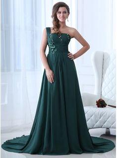 A-Line/Princess One-Shoulder Court Train Chiffon Evening Dress With Ruffle Beading (017017349)