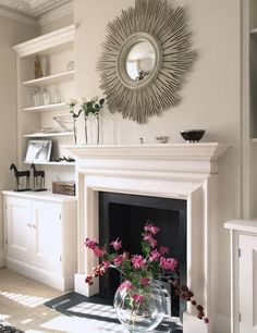 mantle with built-in bookcases