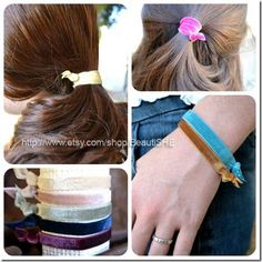 FOE HAIR TIES!!! GENIUS! Find the FOE at www.PamperedPrincessPretties.com    Full tutorial on how to make these found here: http://fabricbowsandmore.blogspot.com/2012/08/fold-over-elastic-foe-hair-ties-tutorial.html#