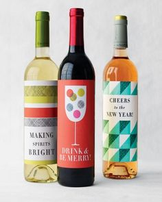Make your own holiday wine labels with this free clip art and templates from Martha Stewart.