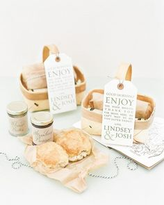 In lieu of receiving welcome bags on arrival, guests woke up to a delivery of warm biscuits on the wedding day. See all of this South Carolina destination wedding online!