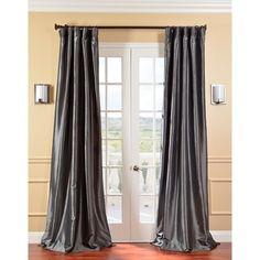 Solid Faux Silk Taffeta Graphite Curtain Panel