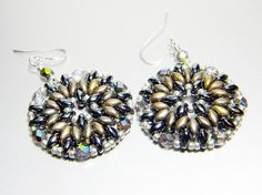 """READY TO SHIP Zinc and Hematite Superduo Crystal Vitrail Earrings """"Metalwork"""" by WhimsyBeading on Etsy"""