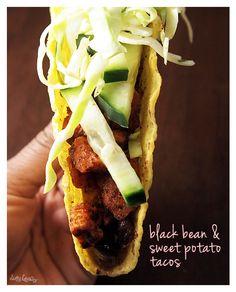 black bean & sweet potato tacos, recipe via With Style & Grace