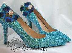 Peacock feather and rhinestone SHOE CLIPS by LauraGrishamDesigns, $35.00
