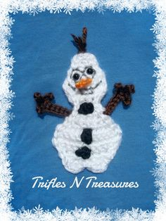 Goofy Frozen Snowman Applique - You can't help but smile when you see this crochet motif pattern for a little snowman. He'd look great on hats, scarves, mittens, and more!