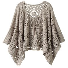 """I want to use this pattern but try to change it so it is more of a """"t"""" shaped tunic top!  CARAMELO ARDIENTE es... LA PRINCESA DEL CROCHET: PONCHO"""
