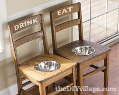 DIY, upcycle old school chairs into lifted feeders for large dogs.