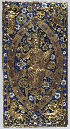 "French book cover plaque: ""Christ in Majesty"", Limoges circa. 1185–1210  - The most lavish medieval books were bound in covers set with enamels, jewels, and ivory carvings. This one is made of gilded copper and champlevé enamel. (Metropolitan Museum of Art)"