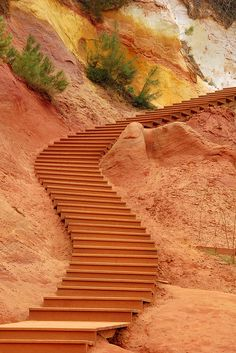 Stairs of ochre at Les Ocres de Roussillon, Vaucluse, France