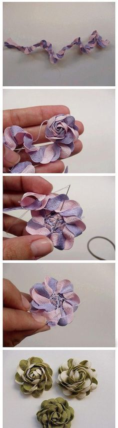 craft, diy tutorial, hair bows, flower tutorial, flowers, rick rack, hair clip, fabric flower, ribbon flower