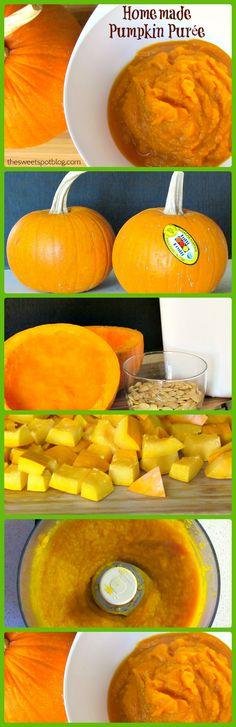How to Make Homemade Pumpkin Puree to Kick-up Your Pumpkin Recipes! http://thesweetspotblog.com/pumpkin-puree-homemade-organic/  #pumpkin #recipes #halloween