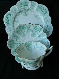 Rare Wileman pre Shelley Snowdrop Trio in Green Cameo pattern