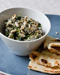Spicy Spinach Dip with Pine Nuts (healthier alternative to spinach dips made w/ mayo & cream cheese)