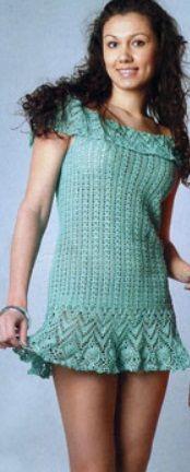 Verão vestido de crochê esquema: Vestido de verão modelo é da revista. vestir conectado gancho № 1,5 de Iris 300g de fios (100% algodão, 600m/100g). Descrição tamanhos 42-44. esquema de Verão vestido de crochê