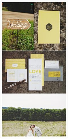 Lovely yellow and grey wedding invitations