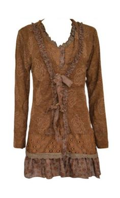 Womens multi-layered tunic top with multi fabric tiered hem and ruffled collar. - Apostolic Clothing Co. #modest #clothing