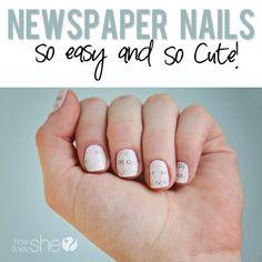 NEWSPAPER NAILS! So easy and so cute! I get so many compliments every time I do mine like this... #nails #nailpolish #howdoesshe toe, nail techniques, facial masks, spa day, beauti, diy spa, newspap nail, diy scrubs and masks, newspaper nails