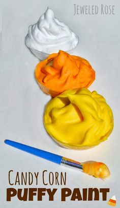 Homemade candy corn paint recipe perfect for Fall.  Easy to make and dries puffy & raised!  {A fun way for kids to make touch & feel art and 3D candy corns}
