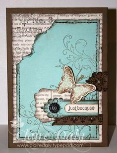 :) butterfli, stamp sets, pool parties, stampin up cards september, color, valentine cards, creativ element, stampin up vintage paper, vintage cards