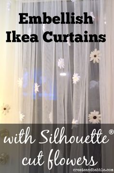 Embellish curtains with fabric flowers cut with Silhouette® createandbabble.com
