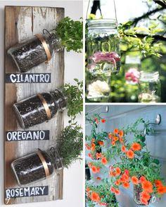 Top 10 Mason Jar ideas - #8-10 - florals and herb gardens
