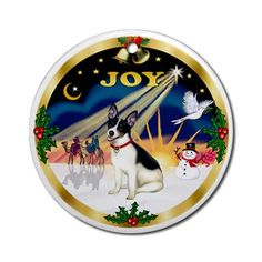 rat terrier christmas ornament