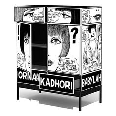 DIY inspiration... Paint a cabinet white, use a projector to pencil on your favourite cartoon strip, then trace with a sharpie. DO IT... it'll be awesome! (Then share a pic with me, pleeeease!)